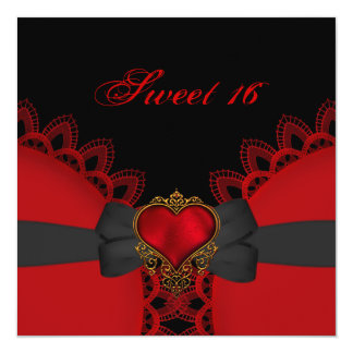 Sweet Sixteen 16 Red Black Lace Heart Gothic 5.25x5.25 Square Paper Invitation Card