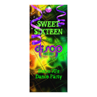 "Sweet Sixteen 16 Retro 70's Disco Dance Party 4 4"" X 9.25"" Invitation Card"