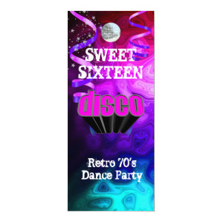 "Sweet Sixteen 16 Retro 70's Disco Dance Party 5 4"" X 9.25"" Invitation Card"