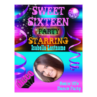 "Sweet Sixteen 16 Retro 70's Disco Dance Party 8.5"" X 11"" Flyer"