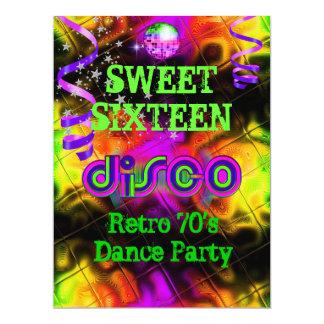 Sweet Sixteen 16 Retro 70's Disco Dance Party Card