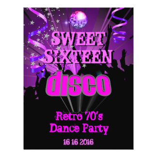Sweet Sixteen 16 Retro 70's Disco Dance Party Flyer