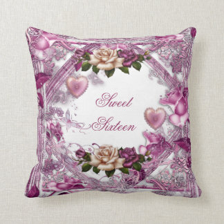 Sweet Sixteen 16 Roses Pink White Floral Hearts Pillows