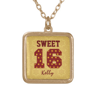 Sweet Sixteen 16 STARS Custom Name V49 Gold Plated Necklace