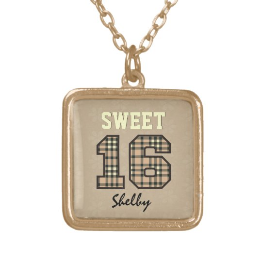 Sweet Sixteen 16 Tan PLAID Custom Name V36 Gold Plated Necklace