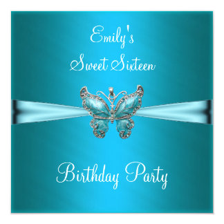 Sweet Sixteen 16 Teal Blue Butterfly Birthday Announcements