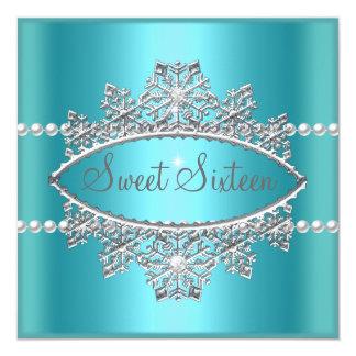 Sweet Sixteen 16 Teal Blue Tiara Pearl Silver Card