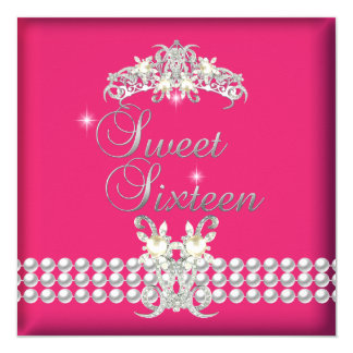 Sweet Sixteen 16 Tiara Pink Silver White Pearl 5.25x5.25 Square Paper Invitation Card