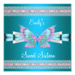 Sweet Sixteen 16 White Teal Blue Pink Butterfly Custom Invitation