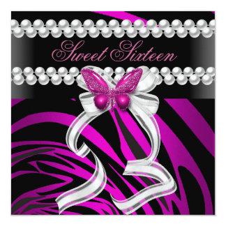 Sweet Sixteen 16 Zebra Butterfly Black Pink White Custom Announcements