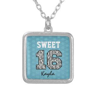 Sweet Sixteen 16 Zebra with AQUA BLUE Custom V08 Square Pendant Necklace