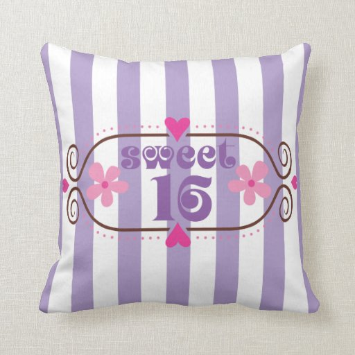 Sweet Sixteen 16th Birthday Gift Throw Pillows