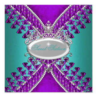 Sweet Sixteen 16th Birthday Party Purple Teal Blue Card