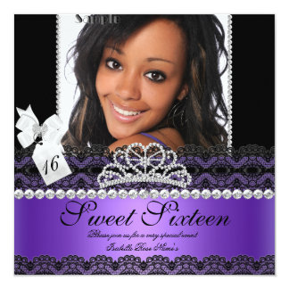 Sweet Sixteen 16th Purple Silver Photo Black Lace Card