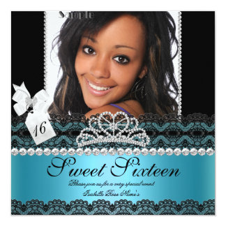 Sweet Sixteen 16th Teal Silver Photo Black Lace 5.25x5.25 Square Paper Invitation Card