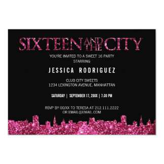 Sweet Sixteen and The City Sweet 16 Birthday Party 5x7 Paper Invitation Card