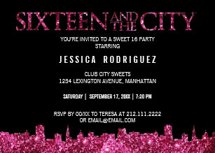 17 birthday invitations zazzle sweet sixteen and the city sweet 16 birthday party invitation stopboris Image collections