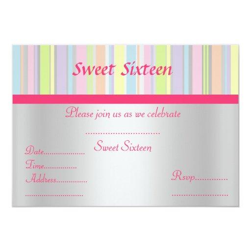 Sweet sixteen aqua Candy stripe invitation silver