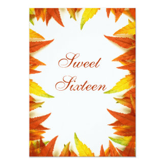 Sweet Sixteen Autumn/Fall Leaves Double Sided Card