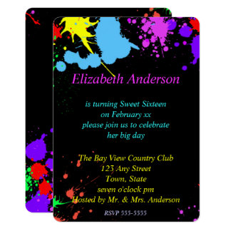 Sweet Sixteen, Bat Mitzvah, Faux Neon Invitation