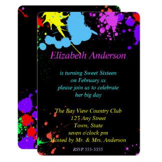 Sweet Sixteen, Bat Mitzvah, Glow Neon Invitation