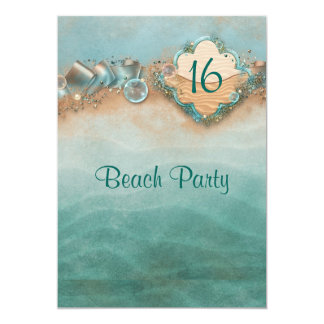 Sweet Sixteen, Beach Party 5x7 Paper Invitation Card