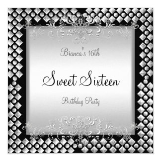 Sweet Sixteen Birthday 16 16th Silver Black 5.25x5.25 Square Paper Invitation Card