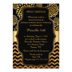 Sweet Sixteen Birthday,16th,Gatsby style,black,Gol Card
