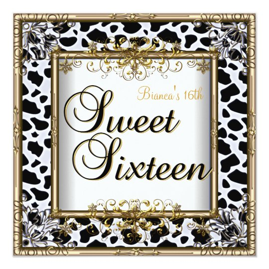 Sweet Sixteen Birthday Black White Gold Teen Girl Card