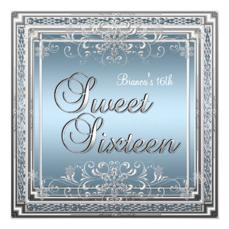 Sweet Sixteen Birthday Blue Silver Teen Girl 2 5.25x5.25 Square Paper Invitation Card