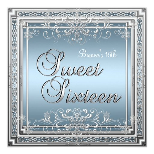 Sweet Sixteen Birthday Blue Silver Teen Girl 2 Personalized Announcement