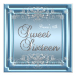 Sweet Sixteen Birthday Blue Silver Teen Girl Personalized Announcement