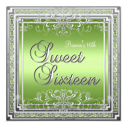 Sweet Sixteen Birthday Bright Green Silver Girl Card