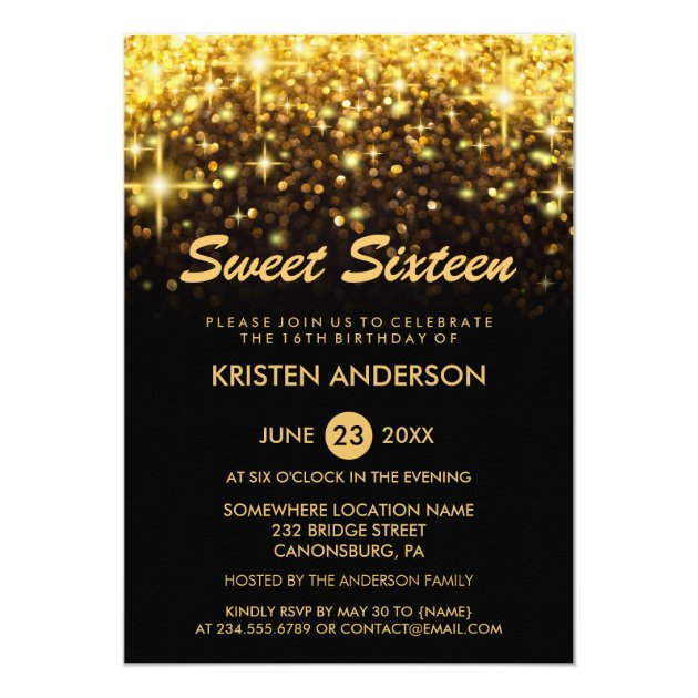 Sweet Sixteen Birthday Gold Glitter Glam Sparkles Card