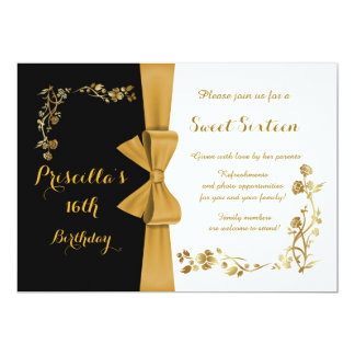 Sweet Sixteen Birthday invitation,16th,Gatsby Card