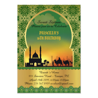 Sweet Sixteen, birthday, invitation, Arabian night Card