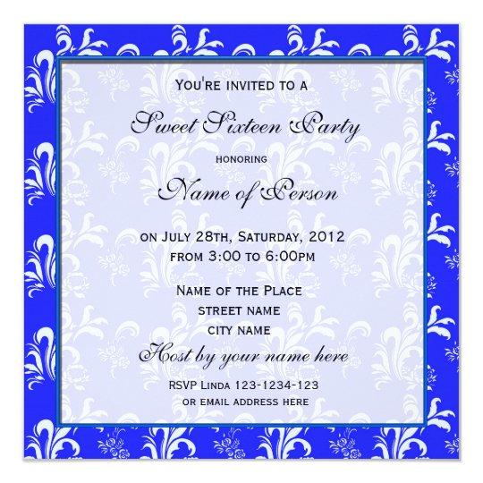 Sweet sixteen birthday invitation, blue damask. card