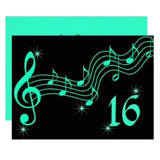 Sweet Sixteen Birthday Invitation Music Notes
