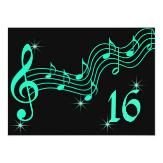 Sweet Sixteen Birthday Invitation Music Notes Personalized Announcements