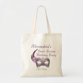 """""""Sweet Sixteen Birthday"""" - Lavender/Pink Lace Mask Tote Bag"""