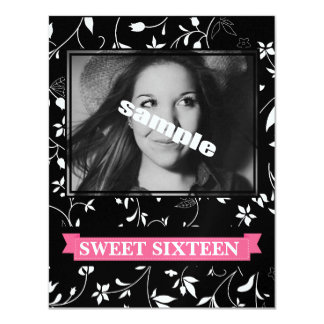 Sweet Sixteen Birthday Party Black White Floral Card