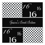 Sweet Sixteen Birthday Party Black & White Spots 5.25x5.25 Square Paper Invitation Card