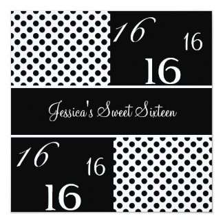 Sweet Sixteen Birthday Party Black & White Spots Personalized Invite