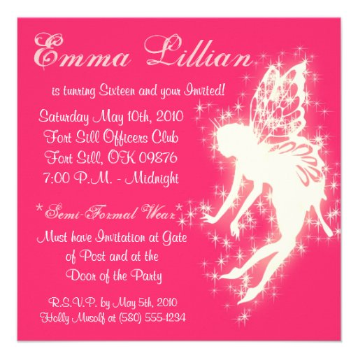 sweet sixteen birthday party invite pink chic  fun