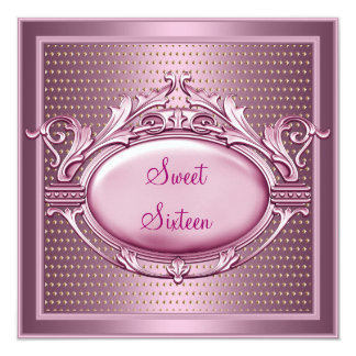 Sweet Sixteen Birthday Party Satin Pink Dots Card