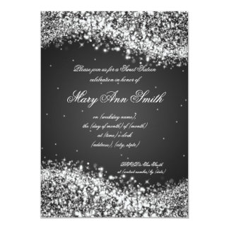 Sweet Sixteen Birthday Party Sparkling Wave Black 5x7 Paper Invitation Card