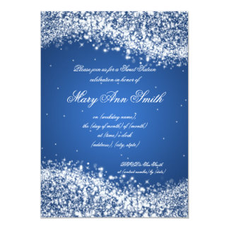Sweet Sixteen Birthday Party Sparkling Wave Blue Card