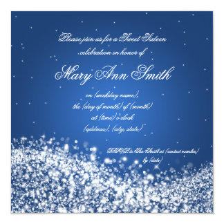 Sweet Sixteen Birthday Party Sparkling Wave Blue Invitation