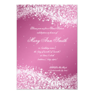 Sweet Sixteen Birthday Party Sparkling Wave Pink Card
