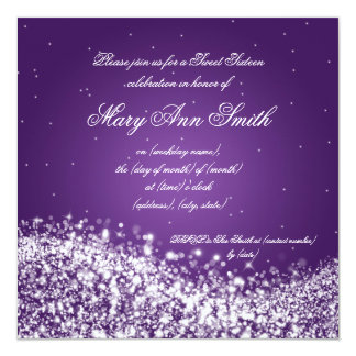 Sweet Sixteen Birthday Party Sparkling Wave Purple Card